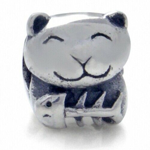 Kitty Cat Fishbone 925 Sterling Silver European Charm Bead Pendant Fits Pandora Bracelets - Euro Charm - Not Threaded - Hypoallergenic