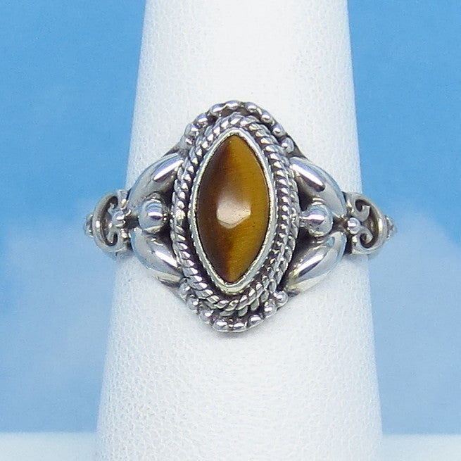 Size 7 Natural Tiger Eye Ring - Sterling Silver - 10 x 5mm Marquise - Boho Bali Vintage Filigree Design - 07-1308
