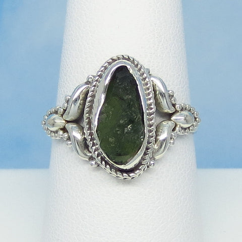 Size 8-1/2 Czech Moldavite Ring - Sterling Silver - Small ish - Victorian Filigree Design - Tektite - Meteorite - Natural Genuine - Boho - MM88