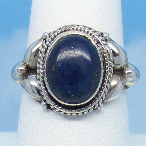 Size 8 Natural Lapis Lazuli Ring - Sterling Silver - Oval - Filigree Victorian Style Boho Bali - Genuine Lapis - jy161636