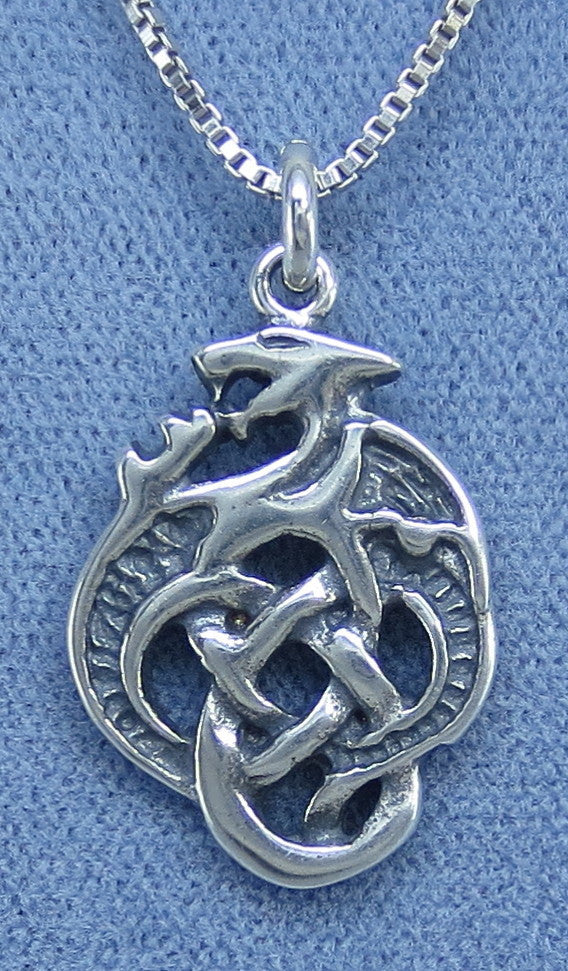 Celtic Dragon Necklace - Sterling Silver - P0021