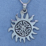 Celtic Sun Necklace - Trinity Knot - Sterling Silver - Endless Knot - Irish - Large -- CS171136