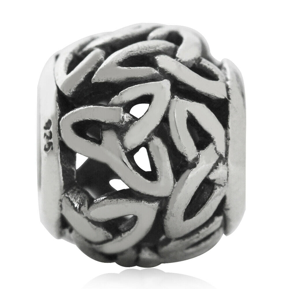 Celtic Trinity Knot Triquetra European Charm Bead - .925 Sterling Silver - Fits Pandora Bracelets - Euro Charm - Not Threaded Hypoallergenic