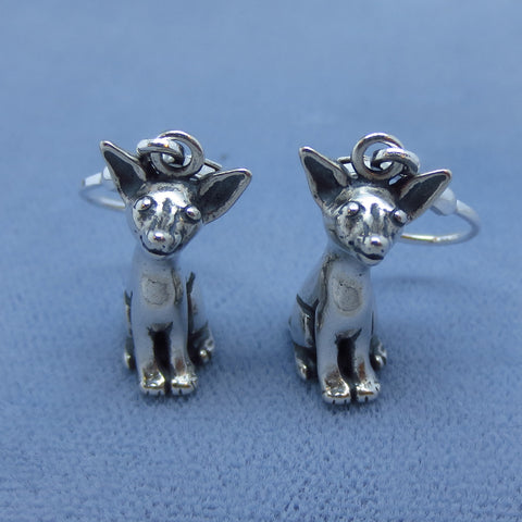 3-D Chihuahua Leverback Earrings - Sterling Silver - Dog Puppy - 201412