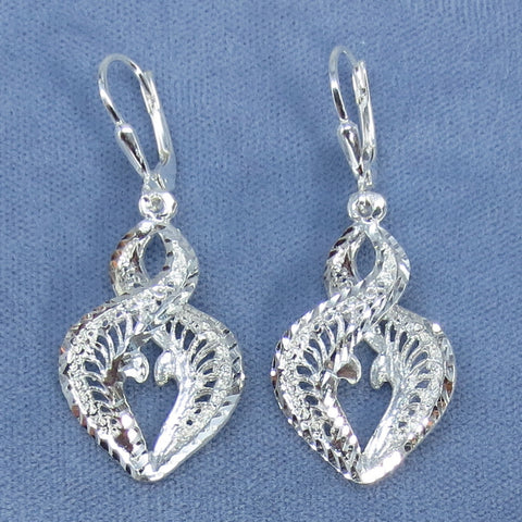 Double Helix Earrings - Leverback - Diamond Cut Sterling Silver - Made in Italy - 201379
