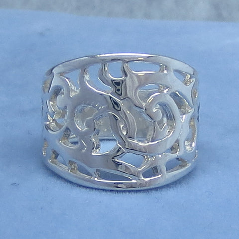 Wide Tapered Band Filigree Ring - Sterling Silver - Size 5.5 or Size 5.75  - Antique Design - Wide Band - 940644