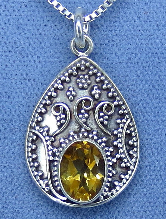 Natural Citrine Boho Necklace Sterling Silver Hand Made - P921