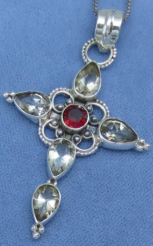 Genuine Citrine & Garnet Cross Necklace - Sterling Silver - Victorian Filigree Style - Hand Made - P161524