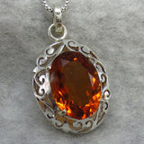 Citrine Jali Filigree Pendant Necklace - Sterling Silver