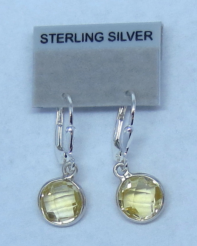 Genuine Citrine Earrings - Leverback - Sterling Silver - Dainty Simple Round -- 151406