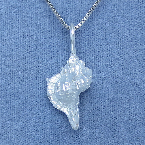 3-D Conch Shell Pendant Necklace - Sterling Silver - Sea Shell -- p170583