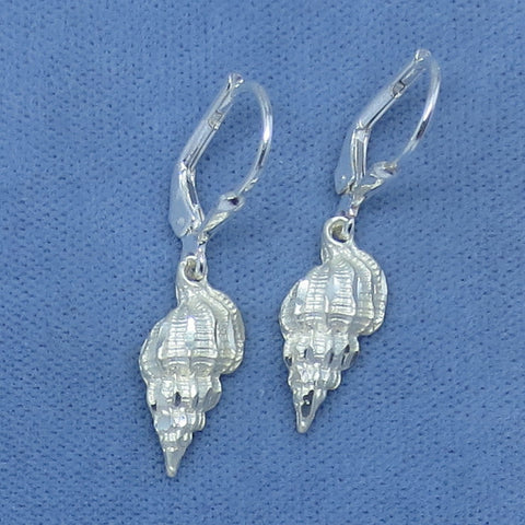 Conch Shell Sea Shell Sterling Silver Leverback Dangle Earrings - Hand Made -- 180506
