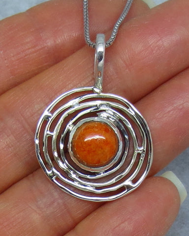 Italian Coral Sterling Silver Necklace - Bird's Nest - Petroglyph Sun Moon -- P181405