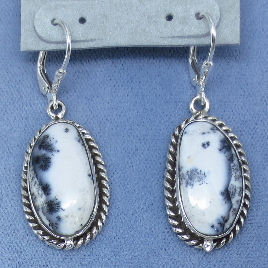 Large Merlinite Dendrite Opal Earrings - Leverback - Sterling Silver - Western Pinto Appaloosa - Rope Edge - Hand Made - 202025