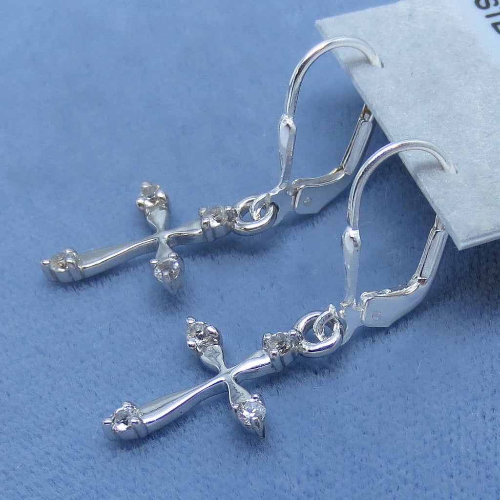 Tiny Genuine White Topaz Cross Earrings - Leverback - Sterling Silver - 160809