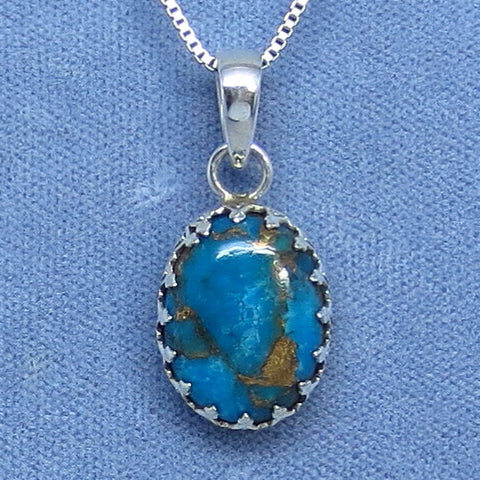 Small Mojave Blue Copper Turquoise Crown Bezel Pendant Necklace - Sterling Silver - 211108