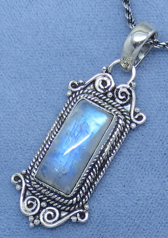 Blue Rainbow Moonstone Necklace - Sterling Silver - Victorian Vintage Design - Pmst20