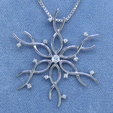 Sparkling CZ Big Snowflake Necklace - Sterling Silver - Choice of Length - sfk161469