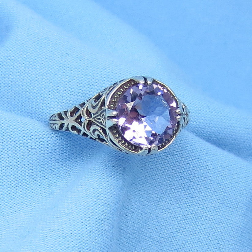 Size 8-3/4 Genuine Amethyst Ring - Victorian Filigree - 2ct Round - Reproduction - 152253