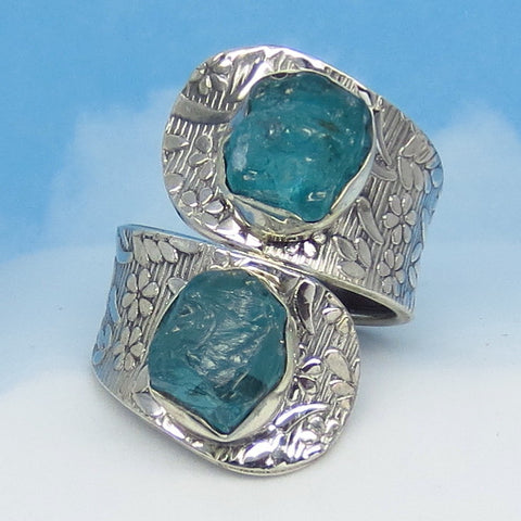 Size 8-1/2 Adjustable Natural Aquamarine Wrap Ring Spoon Ring Genuine Raw Rough Aquamarine sa161653