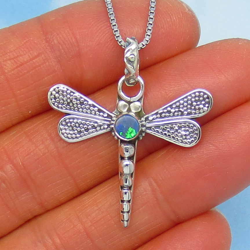 Natural Genuine Australian Opal Doublet Dragonfly Pendant Necklace - Sterling Silver - p171409