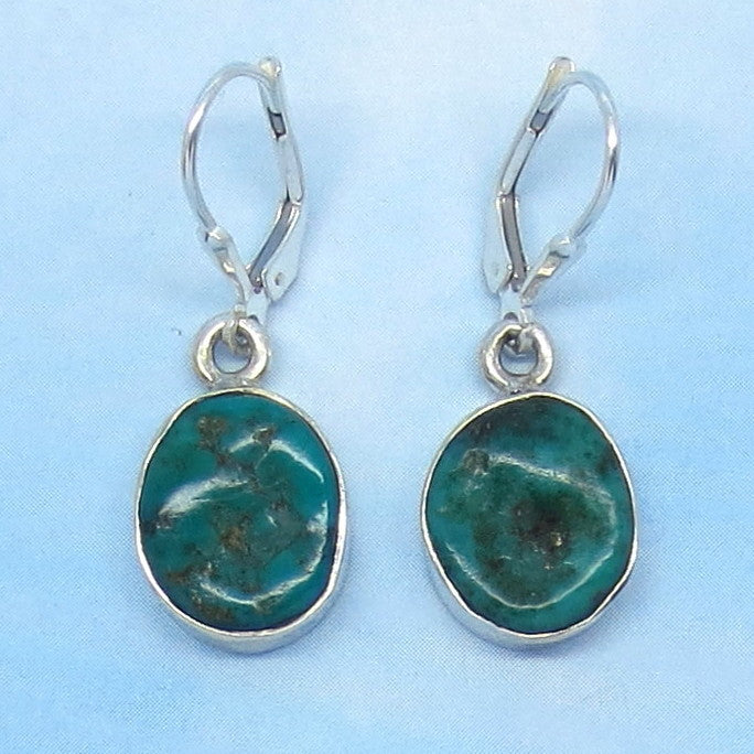 Small Natural Arizona Turquoise Nugget Leverback Earrings Sterling Silver - Dainty Simple - Genuine Raw Rough Nugget - Minimalist - 151316E