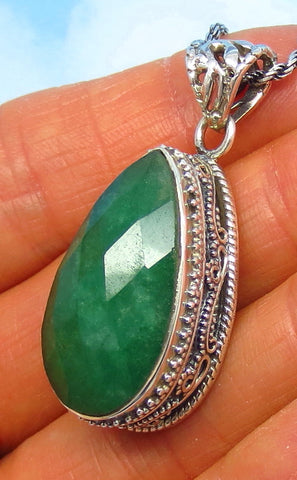 12.6ct Genuine Emerald Pendant Necklace - Sterling Silver - Large - Raw - India - Pear - Victorian Filigree Design - Bali Boho sa182606