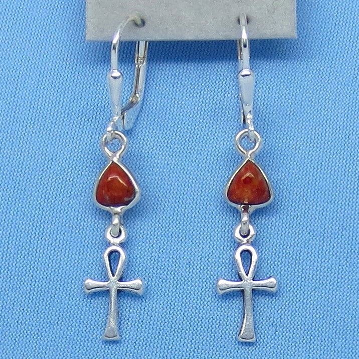 Teeny Tiny Genuine Coral Ankh Earrings - Leverback - Sterling Silver - Egypt - Travel - Pyramid - Cross - 160811