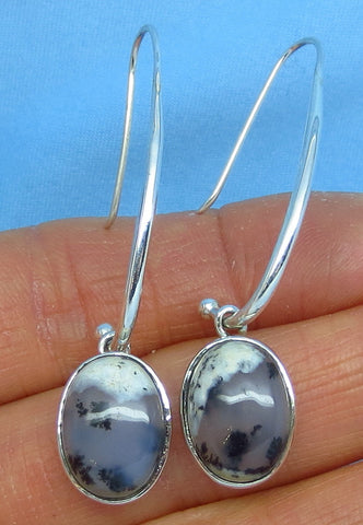 Merlinite Dendrite Opal Earrings - Sterling Silver - Oval - Black & White - Dendrite Agate - Long Dangles - Threader - 151801