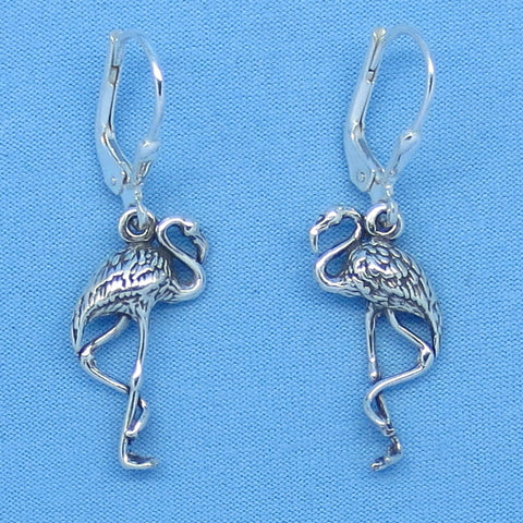 Sterling Silver Flamingo Earrings - Leverback - Artisan - 3-D - Bird - Beach Ocean Sealife f160872