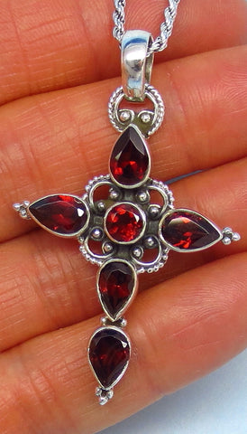 "6.35ctw Large Genuine Garnet Cross Pendant - Sterling Silver - Victorian Filigree Design - 2"" - 5.1cm - 8 x 5mm Garnets - Gothic - p211906"