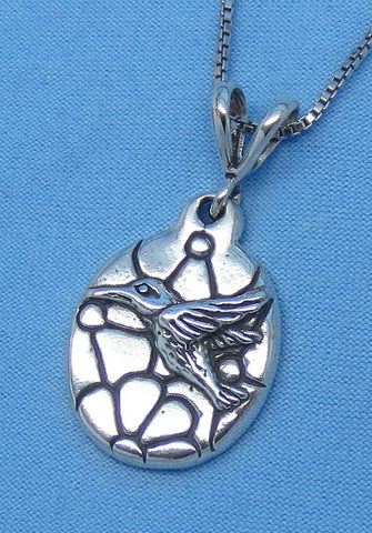 Sterling Silver Hummingbird Necklace - Flowers - Oval Pendant -- p170944