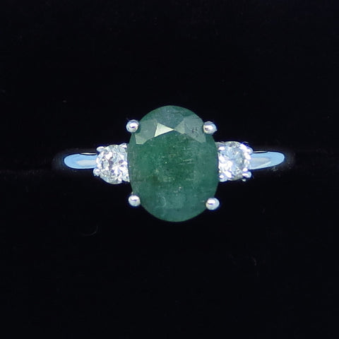 1.6ct Size 6 1/2+ Genuine Emerald Ring - Sterling Silver - CZ Accents - Simple - 9 x 7mm Oval - j991036