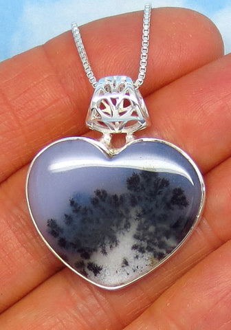 Merlinite Dendrite Opal Heart Necklace - Sterling Silver - Dendrite Agate - Dendritic Opal - Dendritic Agate - Large - Filigree - jy171408