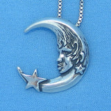 Moon & Star Necklace - Sterling Silver - Man in the Moon -- p200563
