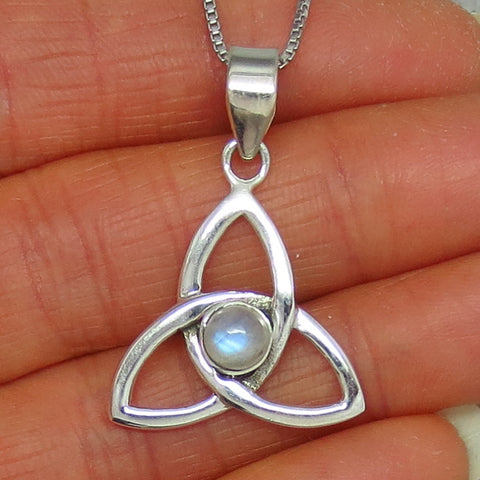 Blue Rainbow Moonstone Celtic Trinity Knot Pendant Necklace - Sterling Silver -- p141102