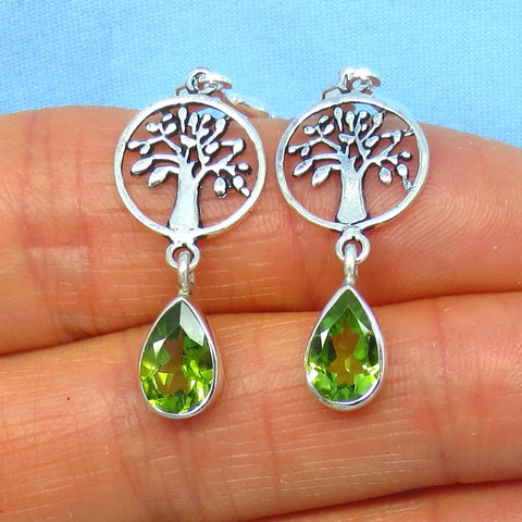 Dainty Genuine Peridot Tree of Life Earrings - Leverback - Sterling Silver - Long Dangles - Tree Earrings - Pear Shape - Forest - su161453