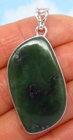 10.0g Natural Nephrite Jade Pendant - Sterling Silver - Dark Green - Petal Shape - Leaf Shape - Genuine - jy171734