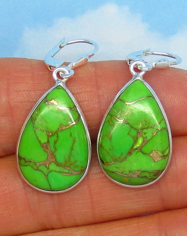 Arizona Mojave Green Copper Turquoise Earrings - Leverback - Sterling Silver - Simple - Large ish - Pear Shape - su171463