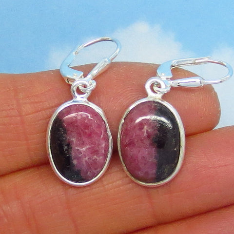 Small Natural Rhodonite Earrings - Sterling Silver - Leverback - 3.7g - Lightweight - Dainty - Oval - Genuine - Argentina - su141402o
