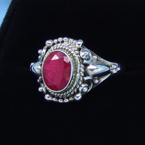 1.55ct - Size 7-1/4 Genuine Ruby Ring - Sterling Silver - Victorian Filigree Gothic - Bali Boho - 8 x 6mm Oval - Natural Raw Ruby - jy171103