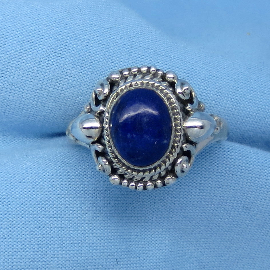 Size 9 Lapis Lazuli Ring - Sterling Silver - Oval - Victorian Filigree Boho Design - Gothic Ring - 171338