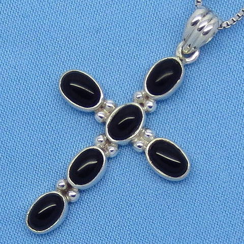 "Genuine Black Onyx Cross Pendant Necklace - Sterling Silver - 18"" 20"" or 24"" - Simple - 260910"