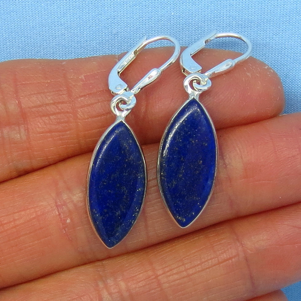 Genuine Natural Lapis Lazuli Leverback Earrings - Sterling Silver - Marquise - Simple Classic - Handmade - 171306