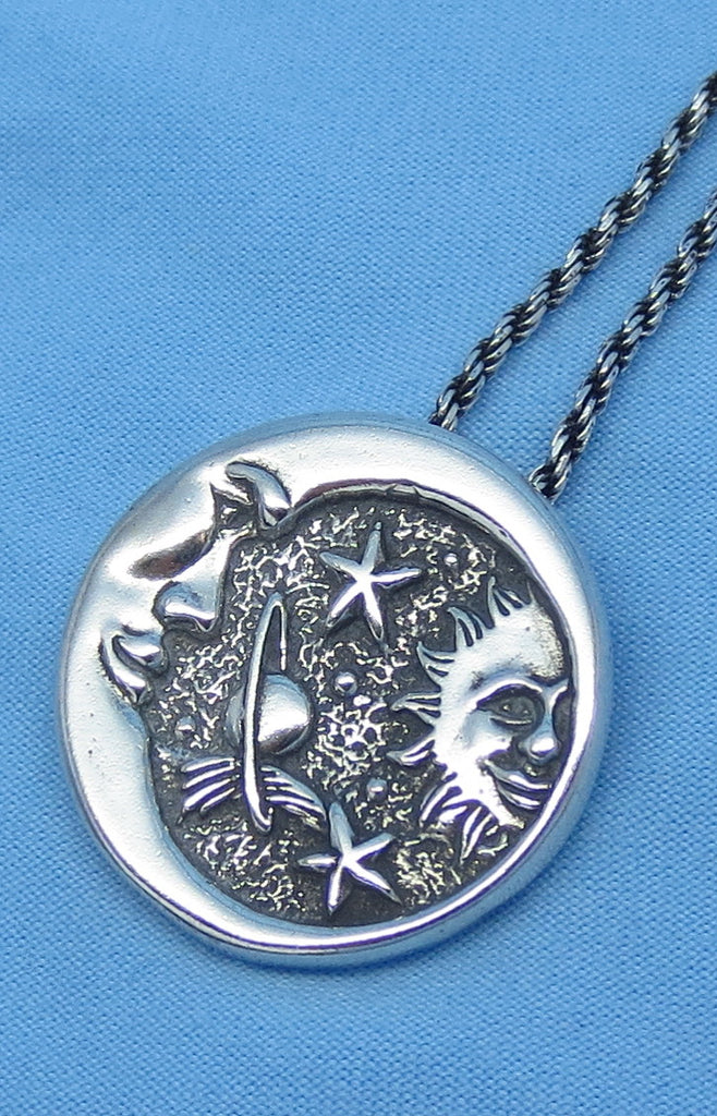 Sterling Silver Sun Moon Star Celestial Necklace - Universe - Solar System - Meteorite -- p171223