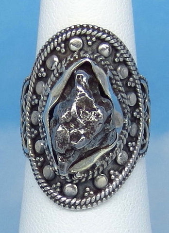 "Size 5-1/2 Meteorite Ring - Campo del Cielo - Argentina - Sterling Silver - 1"" Tall - 15 x 10mm Meteorite - Boho - m261801"
