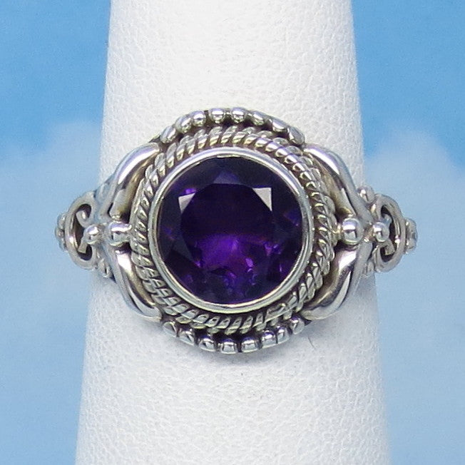 "1.8ct Size 6-1/4 Natural Amethyst Ring - Sterling Silver - Victorian Antique Filigree Design -8mm Round - 9/16"" Tall - jy161253ame"