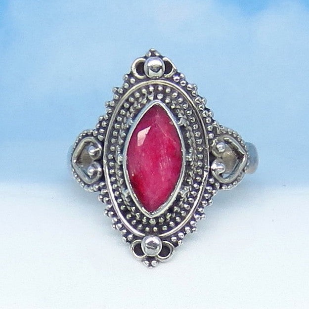 1.15ct Size 6-3/4 Natural Ruby Ring - Sterling Silver - Victorian Filigree Gothic Bali Boho - Marquise - Genuine India Raw Ruby - rr0026-12