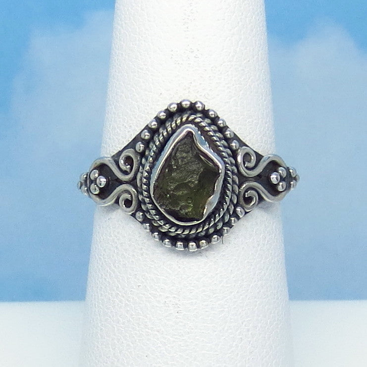 Size 7-1/4 Dainty Czech Moldavite Ring - Sterling Silver - Small - Victorian Filigree Design - Tektite - Meteorite - Natural Genuine - Boho - M13