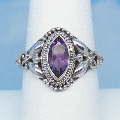 "0.90ct Size 8-3/4 Natural Genuine Amethyst Ring - Sterling Silver - Victorian Filigree Design - 10 x 5mm Marquise - 5/8"" Tall - jy161106"
